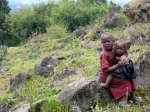 rwandan kids on our hike to volcanos national park